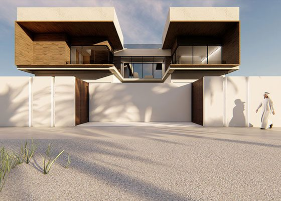 Emirati architecture studio designs Dubai villa with bridge